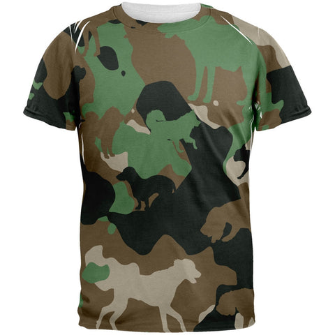 Dog Jungle Camo All Over Adult T-Shirt