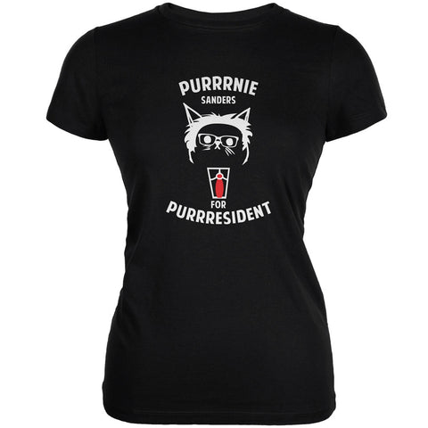 Bernie Sanders for Purrresident Black Juniors Soft T-Shirt