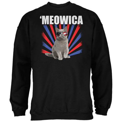 Cat 4th of July Meowica Black Adult Sweatshirt