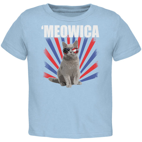 Cat 4th of July Meowica Light Blue Toddler T-Shirt