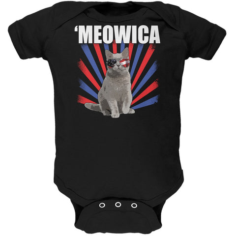 Cat 4th of July Meowica Black Soft Baby One Piece