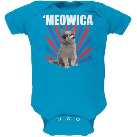 Cat 4th of July Meowica Turquoise Soft Baby One Piece