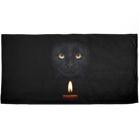 Halloween Black Cat By Candle Light All Over Plush Beach Towel