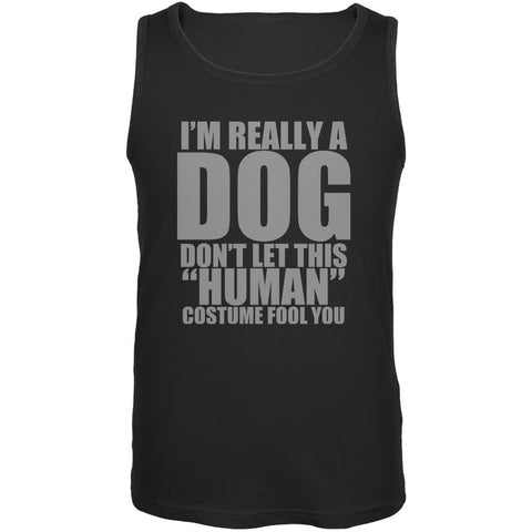 Halloween Human Dog Costume Black Adult Tank Top