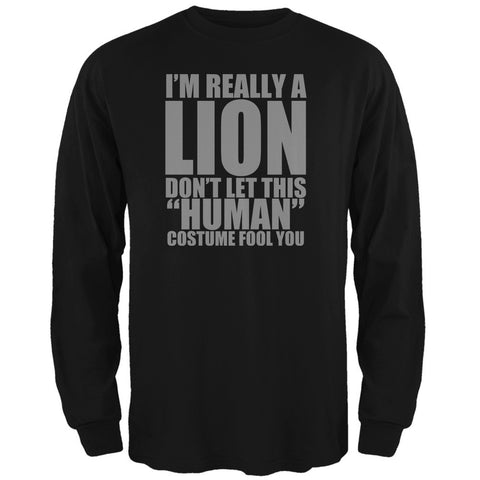 Halloween Human Lion Costume Black Adult Long Sleeve T-Shirt