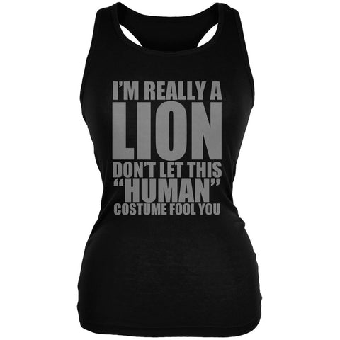 Halloween Human Lion Costume Black Juniors Soft Tank Top