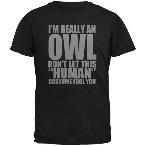Halloween Human Owl Costume Black Adult T-Shirt