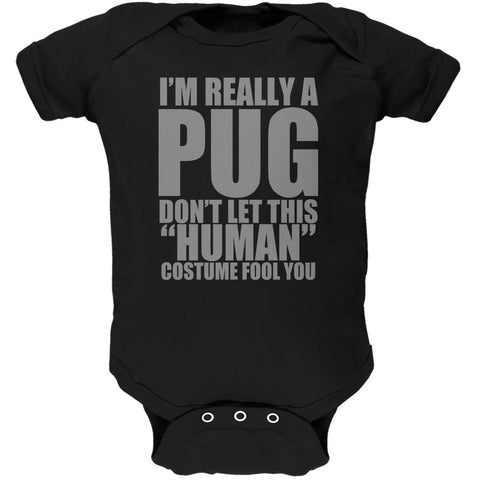 Halloween Human Pug Costume Black Soft Baby One Piece
