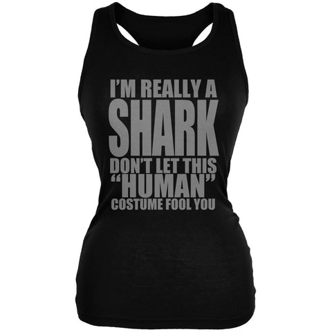 Halloween Human Shark Costume Black Juniors Soft Tank Top