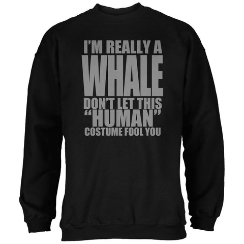 Halloween Human Whale Costume Black Adult Sweatshirt