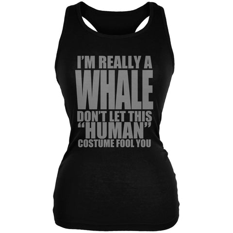 Halloween Human Whale Costume Black Juniors Soft Tank Top