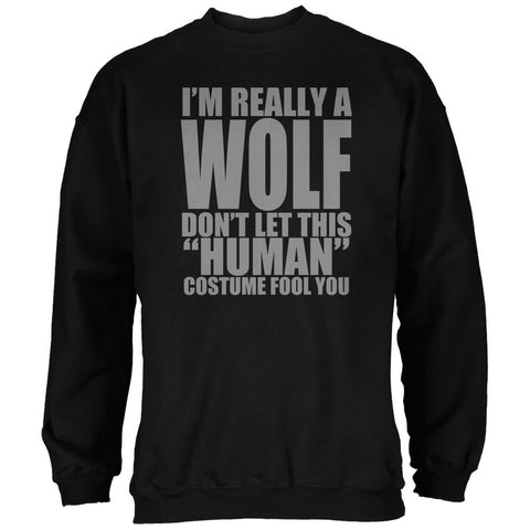 Halloween Human Wolf Costume Black Adult Sweatshirt
