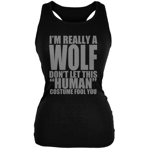 Halloween Human Wolf Costume Black Juniors Soft Tank Top