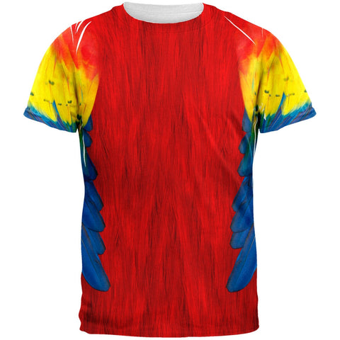 Halloween Scarlet Macaw Parrot Feathers Costume All Over Adult T-Shirt