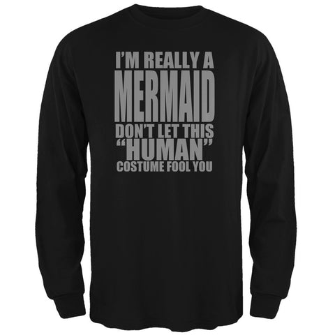 Halloween Human Mermaid Costume Black Adult Long Sleeve T-Shirt