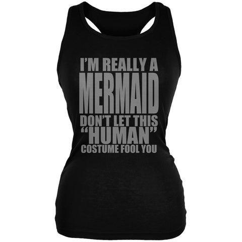 Halloween Human Mermaid Costume Black Juniors Soft Tank Top