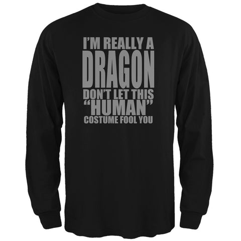 Halloween Human Dragon Costume Black Adult Long Sleeve T-Shirt
