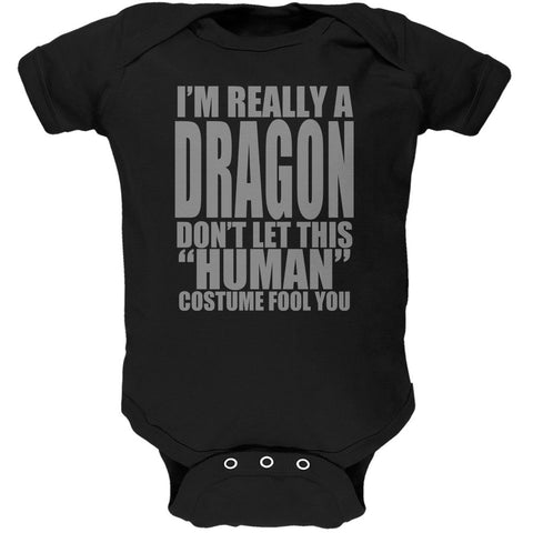 Halloween Human Dragon Costume Black Soft Baby One Piece