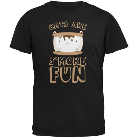 Cats Are S'More Fun Black Adult T-Shirt
