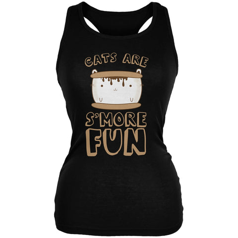 Cats Are S'More Fun Black Juniors Soft Tank Top