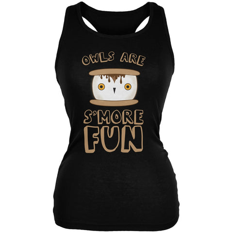 Owl Are S'More Fun Black Juniors Soft Tank Top