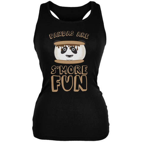 Pandas Are S'More Fun Black Juniors Soft Tank Top