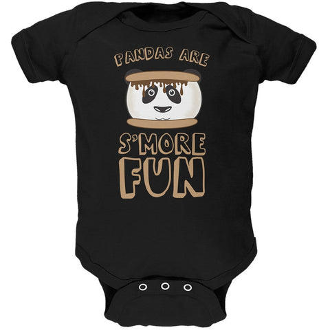 Pandas Are S'More Fun Black Soft Baby One Piece