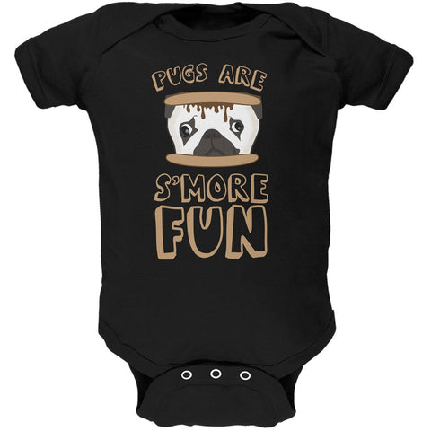 Pugs Are S'More Fun Black Soft Baby One Piece