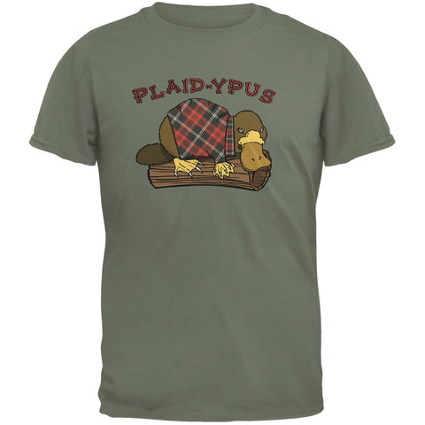 Funny Platypus Plaid-ypus Military Green Adult T-Shirt