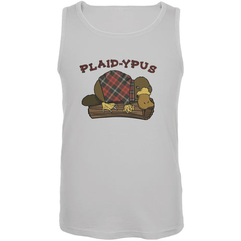 Funny Platypus Plaid-ypus White Adult Tank Top
