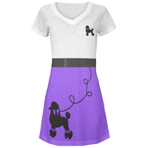 50's Poodle Skirt Purple Costume All Over Juniors V-Neck Dress