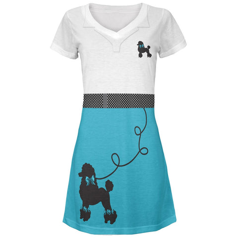 50's Poodle Skirt Teal Costume All Over Juniors V-Neck Dress