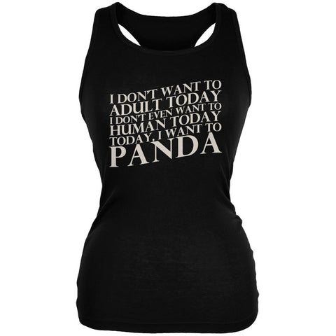Don't Adult Today Just Panda Black Juniors Soft Tank Top