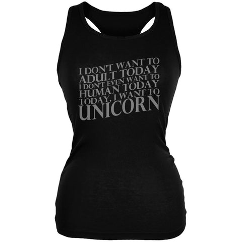 Don't Adult Today Just Unicorn Black Juniors Soft Tank Top