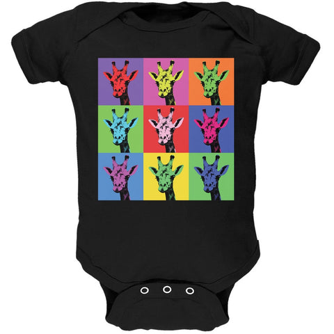 Giraffes Pop Art Repeating Squares Black Soft Baby One Piece