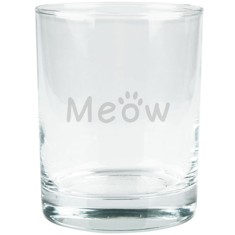 Meow Cat Paw Etched Glass Tumbler
