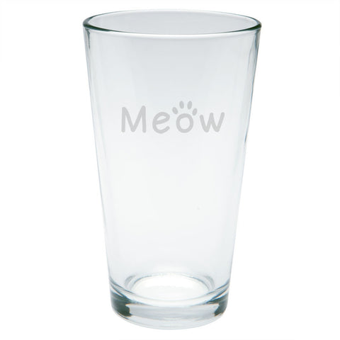 Meow Cat Paw Etched Pint Glass