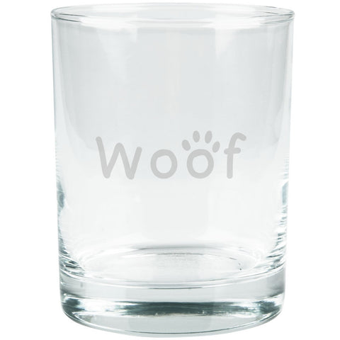 Woof Dog Paw Etched Glass Tumbler
