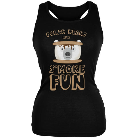Polar Bear Are S'More Fun Black Juniors Soft Tank Top