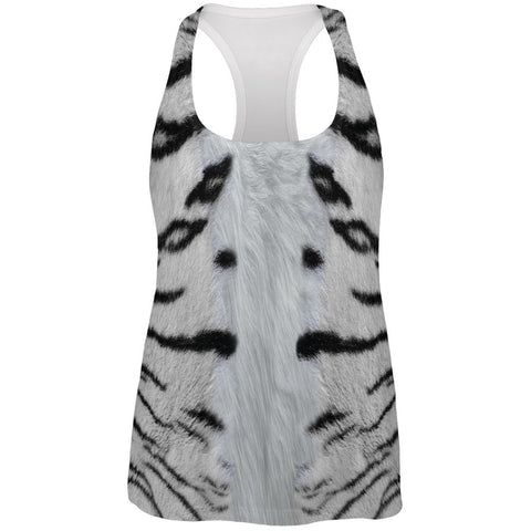 White Siberian Tiger Costume All Over Womens Work Out Tank Top