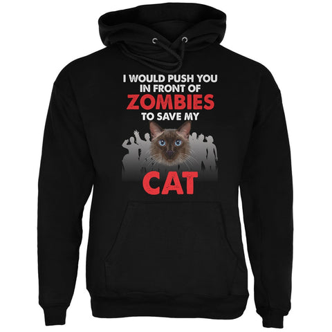 I Would Push You Zombies Cat Black Adult Hoodie