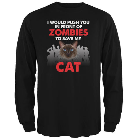 I Would Push You Zombies Cat Black Adult Long Sleeve T-Shirt