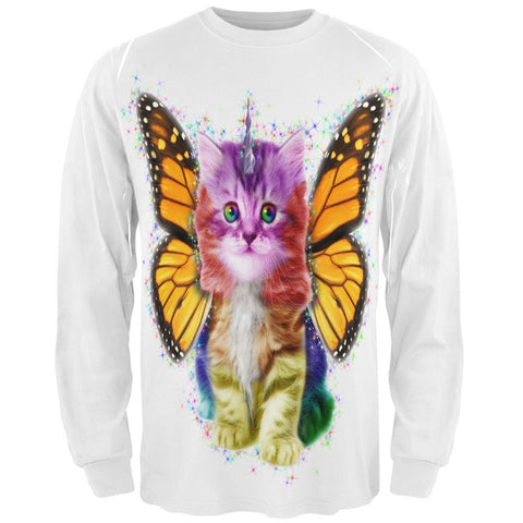 Rainbow Butterfly Unicorn Kitten All Over Adult Long Sleeve T-Shirt