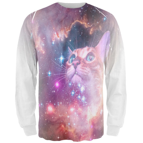 Galaxy Cat All Over Adult Long Sleeve T-Shirt