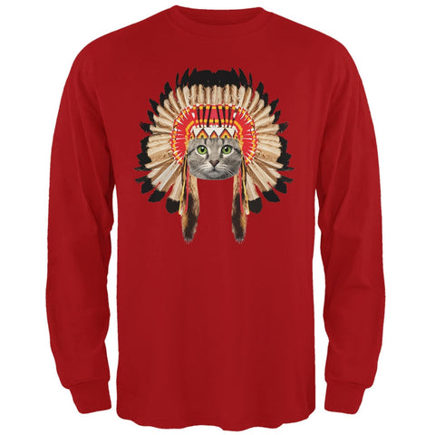 Thanksgiving Funny Cat Native American Red Adult Long Sleeve T-Shirt