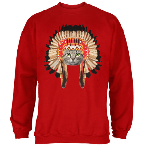 Thanksgiving Funny Cat Native American Red Adult Sweatshirt