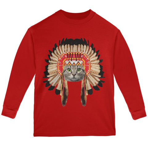 Thanksgiving Funny Cat Native American Red Youth Long Sleeve T-Shirt