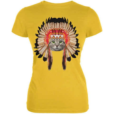 Thanksgiving Funny Cat Native American Juniors Soft T-Shirt
