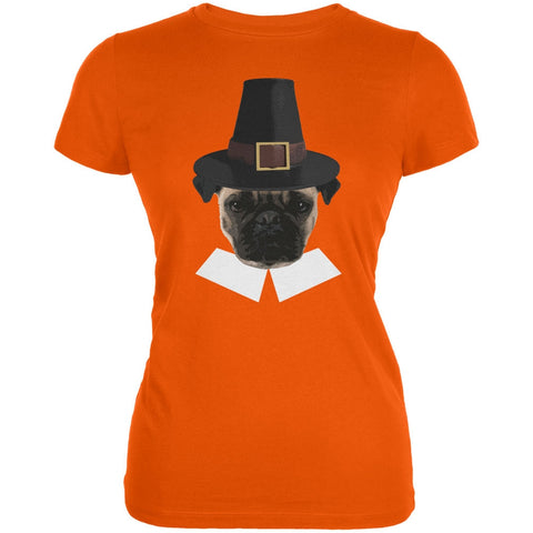 Thanksgiving Funny Pug Pilgrim Orange Juniors Soft T-Shirt