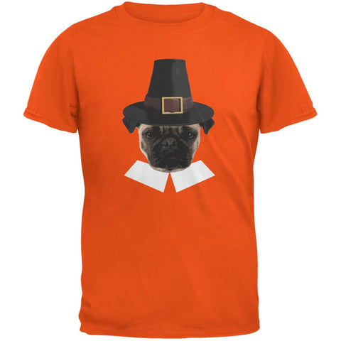 Thanksgiving Funny Pug Pilgrim Orange Youth T-Shirt